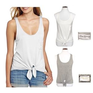 Lucy love gray & white tie front tank tops